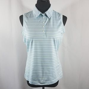 Nike Golf Sleeveless Striped Polo [Fit Dry]